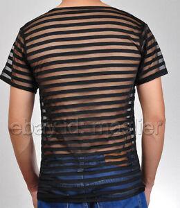 Upgraded Men's Sheer Mesh Striped Undershirt Organza T-Shirt Top Muscle Shirt