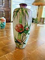 """Antique/Vintage Japanese Cloisonne Foil based Vase. Floral Scene 7"""" x 3""""diameter"""
