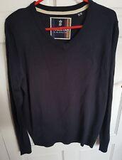 Soulstar Men's V neck long Sleeve Navy blue Jumper Sweatshirt Pullover UK Medium