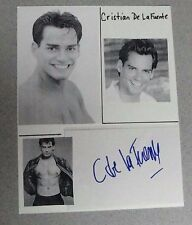 CHRISTIAN De La FUENTE SIGNED 5x7 INDEX CARD PHOTOS ATTACHED TO 9X11 SHEET