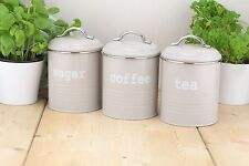 Set of 3 Grey Tea Sugar and Coffee Airtight Round Storage Canister Jars New