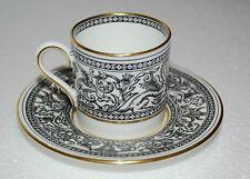 1 Demitasse Cup and Saucer Wedgwood Florentine Black Gold Trim  GREEN  LOGO
