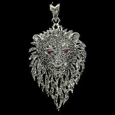 Sterling Silver 925 Big Unusual Designer Swiss Marcasite & Emerald Lion Pendant