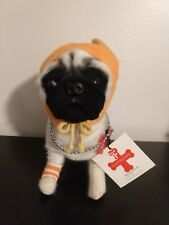 Fuzzy Nation Poseable Pug Striped T-Ant Plush Purse Bag Clutch For Dog Lovers