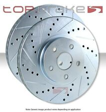 REAR Performance Cross Drilled Slotted Brake Disc Rotors SOLID TB34369