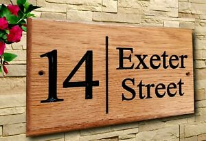Personalised Oak House Number  Name Sign Carved Outdoor Wooden Plaque 150x250mm