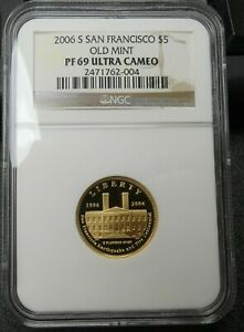 2006-S San Francisco Old Mint Proof $5 Gold NGC PF69 Ultra Cameo - bknp