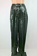 VTG Beaded Sequin Silk Trophy Wife Pants Turquoise NOS Tapered Retro M Rina Z