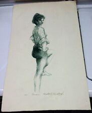 "Gerald D. Fairclough Artist Proof Drawing of Female ""Dancer"""