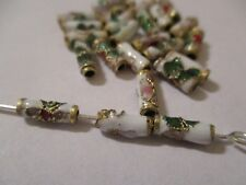 100 White with Gold Trimmed Cloisonne Metal Beads 9 X 3 mm  A+ Quality ~ AD8