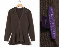Women's RALPH LAUREN PURPLE LABEL Peplum Cardigan Knitted Sweater Cashmere