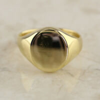 Oval Face Signet Ring 9ct Yellow Gold Size N