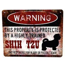 """Warning- Shih Tzu Dog"" Metal Novelty Wall Plaque Plate Sign Vintage Retro Decor"