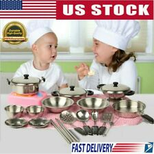 20Pcs Stainless Steel Pots And Pans Pretend Play Kitchen Dishes Set For Kids US