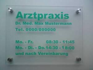 Glasschild Praxisschild + Beschriftung versch. Farben
