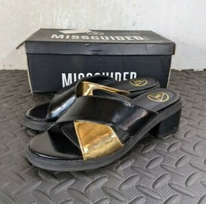 Ladies Sandals Size UK 3 EU 36 Black and Gold Sliders MISGUIDED