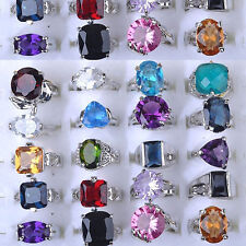 Bulk Lots 10Pcs Fashion Mixed Quality Crystal Rhinestone/Imtate CZ Silver Rings