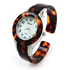 Tortoise Silver Acrylic Band Geneva Crystal Collar Women's Bangle Cuff Watch
