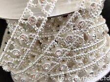 12mm Perla e Diamante Piatto indietro con Fiocco a forma di Abbellimenti 3m FULL Roll Avorio