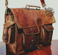 Mens Genuine Leather Vintage Laptop Shoulder Briefcase Messenger Bag Satchel NEW