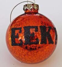 MERCURY GLASS Glittered EEK! Orange Halloween Ornament Decoration 2.5 inches