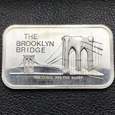 The Brooklyn Bridge 1 Troy oz .999 Fine Silver Art Bar 1973 Colonial Mint (0919)