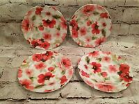 222 Fifth Set of 4 Small Floral Dessert Plates Lot Bundle