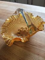 Vintage Amber Art Glass Bon Bon Bowl Basket Dish Ruffled Applied Handle