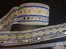 mirror BLUE trim lace GOLD Indian wedding dance costume ribbon crystal applique