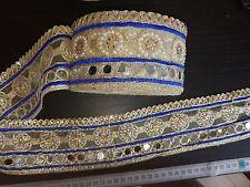 Espejo Azul Encaje Oro Indio Boda Apliques De Cristal De Cinta traje de la danza