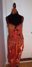 Belly Dancing Vintage 5 Piece Red & Gold beaded Vintage Belly Dancing Outfit