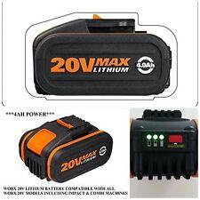 Worx 20V Lithium 4.0AH BATTERY FITS ALL WORX 20v MACHINES