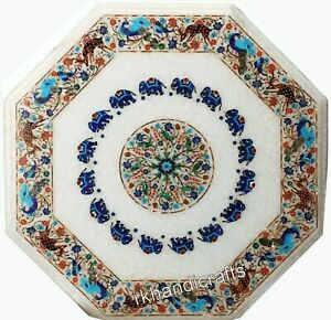 Hand Made Nature Art Inlay Patio Table Top Marquetry Art Marble Dining