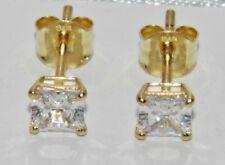 9ct Gold 1.00ct Princess Cut Ladies Solitaire Stud Earrings