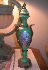 SUPERB PALATIAL FRENCH SEVRES HAND PAINTED PALE GREEN PORCELIAN AND BRONZE URN