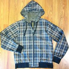 "BILLABONG Mens POLYESTER ZIP UP WINDBREAKER JACKET PLAID EUC Sz 48"" MEDIUM"