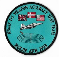 ROYAL NORWAY AIR FORCE PATCH ACCURACY TEST TEAM EGLIN AFB 1993 F-5A