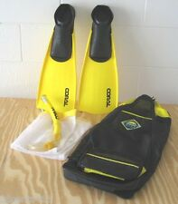 Adult Pro Coral Reef Swim Fins & Snorkel Set Size 9-11 With Carry Bag & Wet Bag