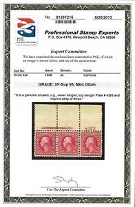 US Scott #332 Mint OG NH 1908 2c Washington, MS3 -- PSE Graded XF-SUP 95
