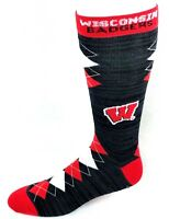 Wisconsin Badgers NCAA Black RMC Red White Fan Nation Crew Socks