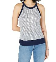 Maison Jules Womens Knit Top Blue Notte Size Medium M Honeycomb Hi-Neck $49 205