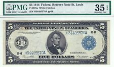 1914 $5 St. Louis Federal Reserve Note PMG 35 EPQ Choice VF Fr# 875a Large FRN