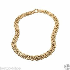 "18"" Technibond Bold Byzantine Chain Necklace 14K Yellow Gold Clad Silver 39.05g"