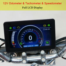 Full LCD Screen Display Speedometer Meter Gauge For 12V Motorcycle Accessories