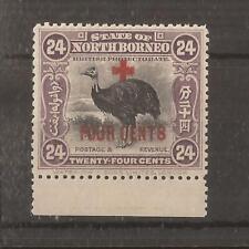 NORTH BORNEO 1918 RED CROSS SURCH. 24c mauve mh