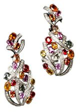 18K White-Gold Sapphire & Diamond Chandelier Earrings 12CTS Saphires 1.8 CTS Dia