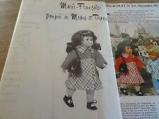 T17 PATRON POUPEE M.FRANCOISE MODES & TRAVAUX MANTEAU CHIC NOVEMBRE 1976