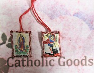 """1 3/8"""" x 7/8"""" Red Saint Michael + Our Lady of Guadalupe Scapular"""
