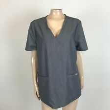 New listing Figs Technical Collection Scrub top L Gray Double Pocket Short Sleeve V-Neck Y30