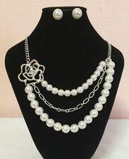 Avon  Beautiful Pearl Necklace Earrings Set